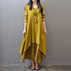 ขาย แบบแขนเสื้อหลวมคอวีสวยแต่งตัวแฟชั่นไซส์พิเศษผู้หญิงแต่งตัวร่วง Vestidos ลำลองผ้าฝ้ายหนา Boho แมกซี่ยาวแต่งตัวสีเหลือง ถูก