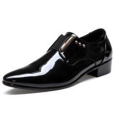 Elegant Men Dress Shoes Patent Leather Black Wedding Flats Pointed Toe Shining Metalic Big Size Intl เป็นต้นฉบับ