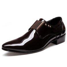 ขาย Elegant Men Dress Shoes Patent Leather Black Wedding Flats Pointed Toe Shining Metalic Big Size Intl Unbranded Generic ถูก
