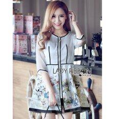 Elisa Thailand เสื้อผ้าแฟชั่นสไตล์เกาหลี Lady Ribbon Lady Leanne Sweet Feminine Fairy Tale Embroidered Organza Dress เป็นต้นฉบับ