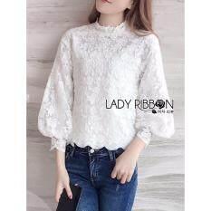 Elisa Thailand เสื้อผ้าแฟชั่นสไตล์เกาหลี Lady Aerin Vintage Feminine White Lace Blouse ใหม่ล่าสุด