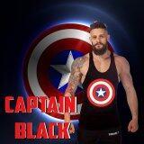 ขาย ซื้อ Elit Gym เสื้อกล้าม เข้ารูป เสื้อฟิตเนส ออกกำลังกาย Captain Black Tank Top Gym Fitness สีดำ