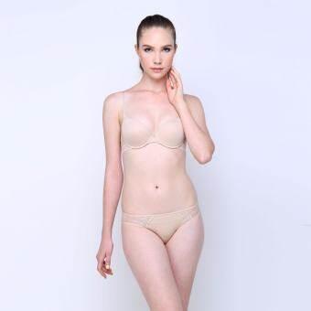 ELLE เซ็ทชุดชั้นในกางเกงชั้นใน Moulded Bra 3/4 Cup และกางเกงใน Bikini (สีเบจ) - LB6550BE + LU2767BE-