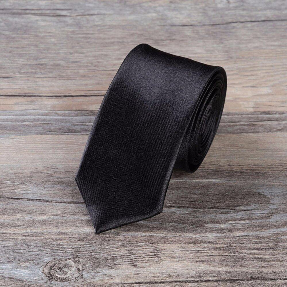 เนคไท Slim Necktie Tie Wedding Classic Jacquard Woven Solid Color Plain Skinny Silk - Black