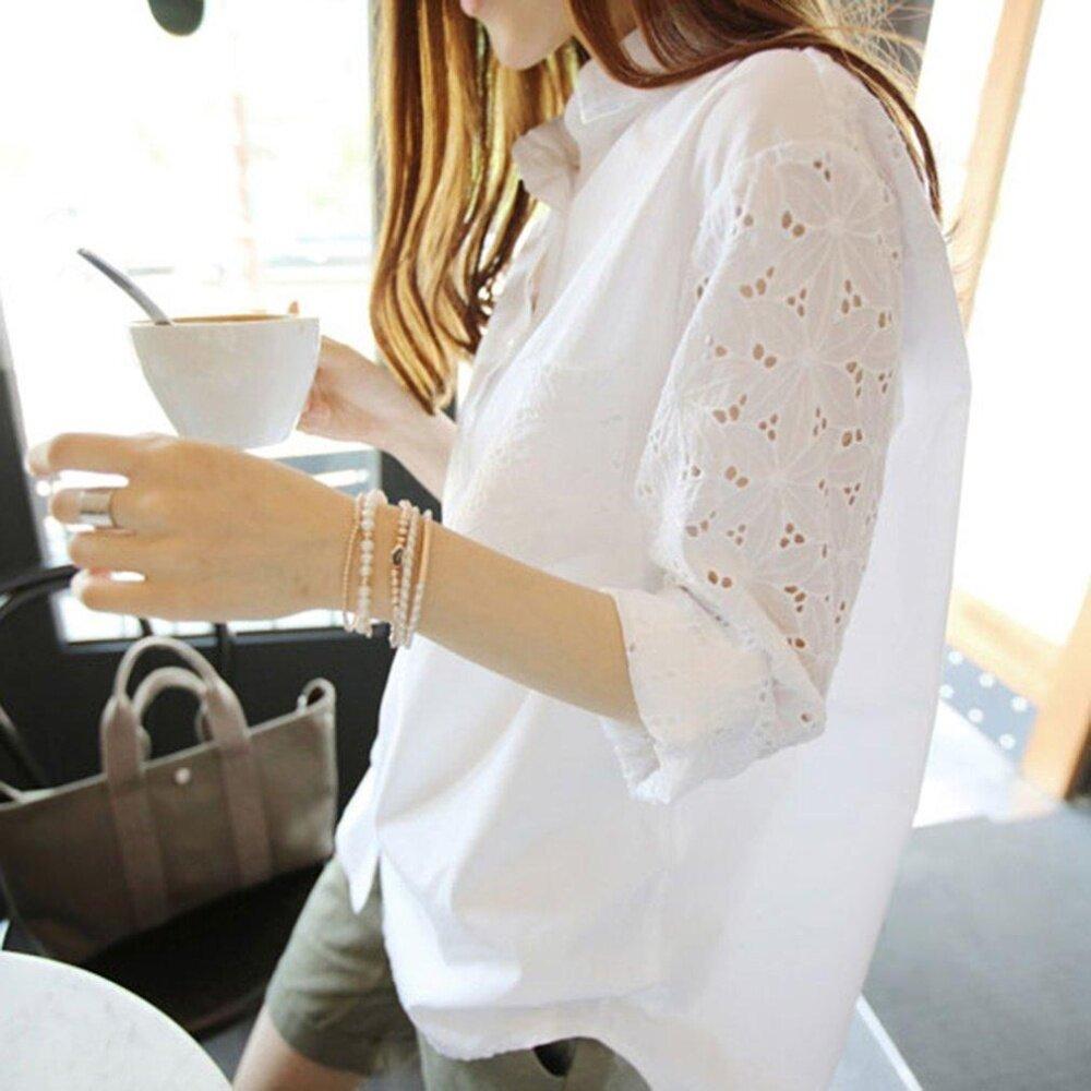 ข้อมูล ยุคหลวมเสื้อสีขาวแขนค้างคาวแขนเย็บปักถักร้อยกลวงออกแบบสำหรับผู้หญิง รีวิวดีที่สุด อันดับ1