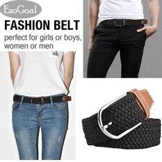 ราคา Esogoal ผ้ายืดยืดยืดถักเข็มขัดอัลลอยด์สำหรับผู้ชายผู้หญิงเด็กผู้หญิงเด็ก Woven Elastic Casual Belt สีดำ Intl ราคาถูกที่สุด