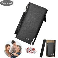 ซื้อ Esogoal Business Men Wallets Solid Man Pu Leather Purse Long Bifold Wallet Portable Cash Coin Purses Zipper Wallets For Valentine S Day Present Box Black Intl ใหม่