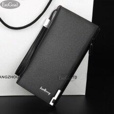 ซื้อ Esogoal ธุรกิจผู้ชายกระเป๋าสตางค์ของแข็ง Pu หนังกระเป๋าสตางค์ยาว Bifold กระเป๋าสตางค์แบบพกพากระเป๋าสตางค์ Zipper กระเป๋าคลัทช์ชาย สีน้ำตาล ถูก ใน จีน