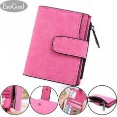 ซื้อ Esogoal แฟชั่นผู้หญิง Frosted Buckle กระเป๋าสตางค์ Women Short Wallet ถูก