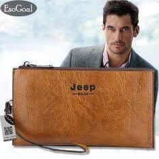 Esogoal Business Men Wallets ความยาวหนังกระเป๋าสตางค์กระเป๋าบุรุษบัตรพับครึ่งเงินกาแฟคลัตช์ เป็นต้นฉบับ