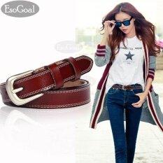 ราคา Esogoal กระเป๋าถือหนังเอวเข็มขัดสุภาพสตรีเข็มขัดโลหะผสมแปรงสำหรับกางเกงยีนส์กางเกงขาสั้นกางเกง Pu Leather Belt ที่สุด