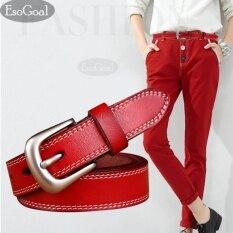 ราคา Esogoal กระเป๋าถือหนังเอวเข็มขัดสุภาพสตรีเข็มขัดโลหะผสมแปรงสำหรับกางเกงยีนส์กางเกงขาสั้นกางเกง Pu Leather Belt ถูก