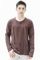 ราคา Essential Cotton Button Neck Long Sleeved T Shirt เสื้อผ้าผู้ชาย เสื้อยืด เสื้อแฟชั่น แขนยาว Brown ไทย