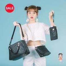 ราคา Esther กระเป๋าแฟชั่นกระเป๋าถือผู้หญิง เป็นเซ็ต รุ่น Bs002 Black สีดำ ใหม่