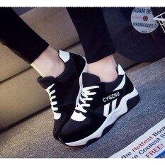 ทบทวน ที่สุด Esther รองเท้าผ้าใบ รองเท้าผ้าใบผูกเชือกสีดำ รุ่น Cm625 Black