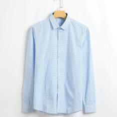 ขาย เสื้อเชิ๊ตแขนยาว ผ้าค๊อตต้อน สีฟ้า ถูก