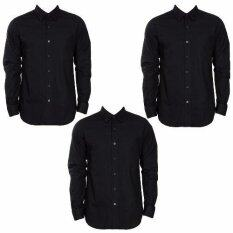 ขาย เสื้อเชิ้ตดำแขนยาวสีดำ แพ๊ค 3 ราคาถูกที่สุด