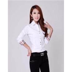 ซื้อ เสื้ออินเทรนด์ล่าสุดแขนยาวบางเลดี้สไตล์สุภาพสตรีสีขาว ขนาด2Xl ใหม่ล่าสุด
