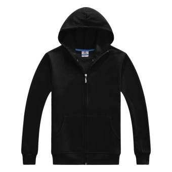 เสื้อคลุม มีฮูด แบบซิบ สีดำล้วน SizeM