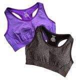 โปรโมชั่น เสื้อออกกำลังกาย เสื้อโยคะ Yoga Sport Cloting แห้งไว ซับเหงื่อดี เซต 2 ตัว 2 สี ไซร์ L สีม่วง สีดำ