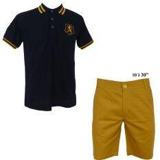 ราคา เสื้อโปโล กางเกง คู่ สิงห์ กรม กางเกงขาสั้นสีเหลือง มาสตาด เอว 30 ใหม่
