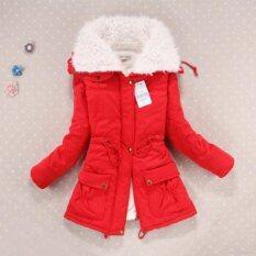 ซื้อ เสื้อผู้หญิงบางพลัสทนกว่าแจ็คเก็ตขนาดยาวWaddedคลุมด้วยผ้าฝ้ายหนาWaddedอบอุ่นP Arkas สีแดง ใน กรุงเทพมหานคร