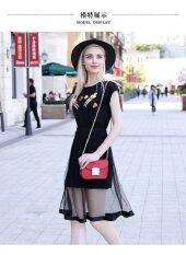 ขาย Europe And The United States The New Large Size Women Loose Sleeveless Net Yarn Printing Dress Int 5Xl Overseas Intl ผู้ค้าส่ง