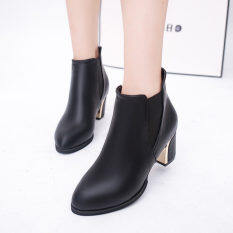 โปรโมชั่น European Boots Women S Boots Wild Fashion Plain Shoes Black