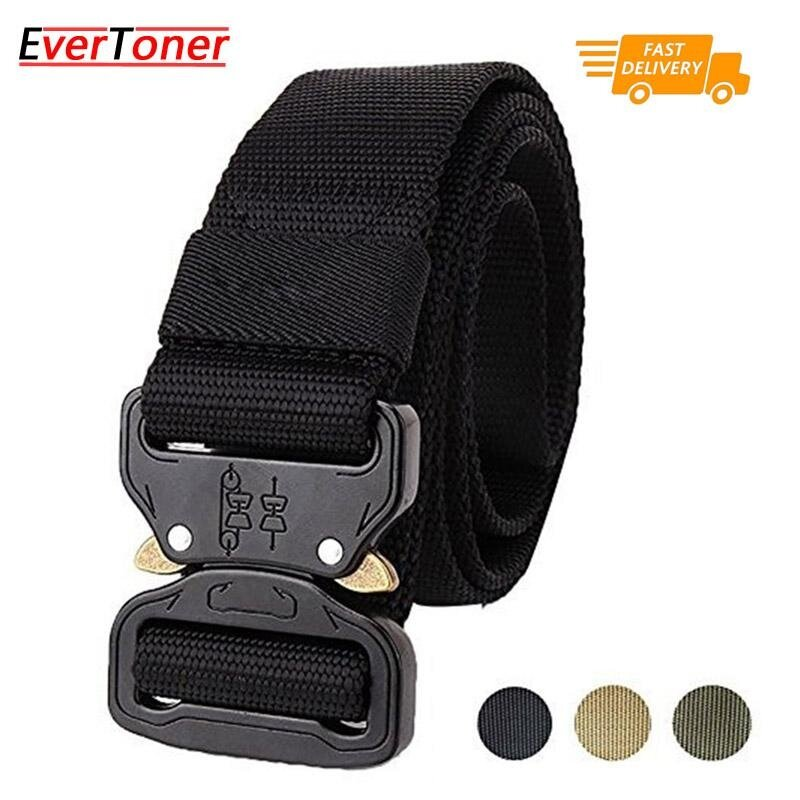 EverToner Tactical Belt, Military Style Webbing Riggers Web Belt with Heavy-Duty Quick-Release Metal Buckle