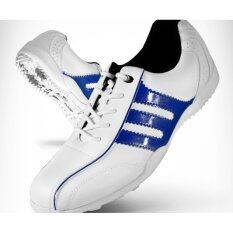 Exceed Unisex Golf Shoes White-Dark Blue Colour รองเท้ากอล์ฟ Pgm สีขาวแถบน้ำเงิน Xz001 ( Size Eu : 32 - Eu : 44 ) By Exceed.