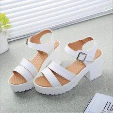 ซื้อ Factory Direct Sale Women Summer Shoes White Black Fashion Platform Soft Pu Sandals Women S High Heeled Shoes Thick Heel Sandals White Intl ออนไลน์ ถูก
