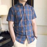 โปรโมชั่น Falanwang เสื้อลำลองเสื้อเชิ้ตผ้าฝ้ายชายแขนสั้นธุรกิจ สีรูปภาพ Unbranded Generic