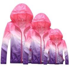 เหมาะสำหรับครอบครัวเสื้อแจ็คเก็ตน้ำหนักเบาป้องกันรังสียูวี + แห้งเร็วกันลมเสื้อโค้ท - สีม่วงและชมพู.