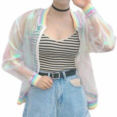 ซื้อ Fancyqube Rainbow Sunscreen Jacket Falling Sleeves Summer Beach Wear Organza Cardigans Baseball Shirt White Intl