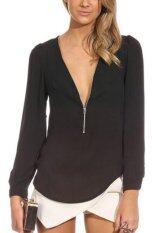 ขาย Fancyqube Candy Colored Zipper V Neck Long Sleeve Chiffon Blouse Black ออนไลน์