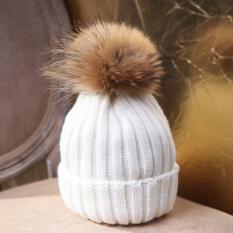 ซื้อ Fang Fang New Winter Women Warm Rabbit Fur Ball Knitting Baggy Beanie Beret Ski Cap Hat White Intl Unbranded Generic