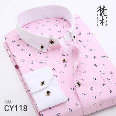 ซื้อ Fanshan เสื้อเกาหลีชายเสื้อสลิมพิมพ์ Cy118 ใหม่