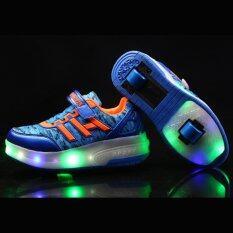 Fashion Design รองเท้าผ้าใบสเก็ตมีไฟกระพริบ แบบล้อคู่หน้าหลัง รุ่น 2 Wheels With Led สีฟ้า/ส้ม - เบอร์ 36 By Ruklukebabyshop.