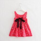 ความคิดเห็น Fashion Girls Sweet Cotton Princess Dresses Cherry Flowers Dresses Rose Red Floral Intl