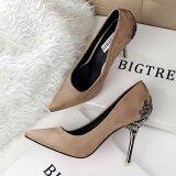 ขาย Fashion High Heeled Shoes Woman Pumps Thin Heels High Heels Suede Pointed Toe Women Shoes Closed Toe Ladies Wedding Shoes Khaki จีน ถูก