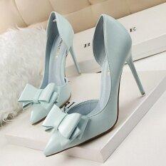ราคา Fashion High Heeled Shoes Woman Pumps Thin Heels Bow High Heels Closed Toe Pointed Toe Ladies Wedding Shoes Women Shoes Intl เป็นต้นฉบับ