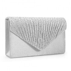 ส่วนลด Fashion Ladies Diamante Satin Clutch Bag Evening Party Shiny Bridal Bag Silver Intl