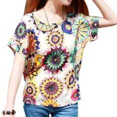Amart Fashion Women Shirt Chiffon Loose Lady Blouse Short Sleeved Tops เป็นต้นฉบับ