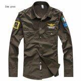 Fashion Men Air Force Flight Suit Casual Style Long Sleeve Casual Shirts Intl ใหม่ล่าสุด