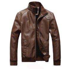 ราคา แฟชั่นผู้ชายหนังแจ็คเก็ตบางเสื้อโค้ทผู้ชายนอกคอ Pu หนังแจ็คเก็ตเสื้อ นานาชาติ เป็นต้นฉบับ