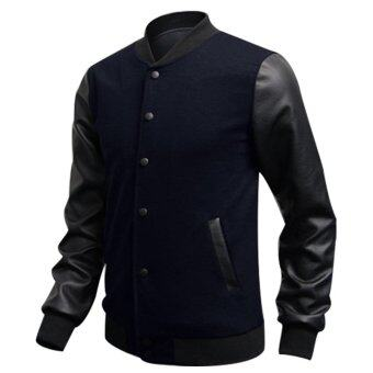 Fashion men PU leather collar sweater DEEP BLUE - Intl