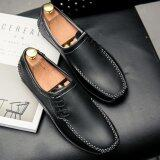 ขาย Fashion Men S Casual Shoes Leather Loafer Shoes Black Intl ถูก