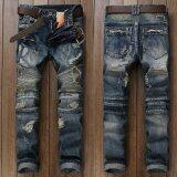 ราคา แฟชั่นผู้ชาย Ripped กางเกงยีนส์แบรนด์นักออกแบบวินเทจล้างกางเกงยีนส์กางเกงแพทช์จีบกางเกงยีนส์ผู้ชายขนาด 28 38 น้ำเงิน สนามบินนานาชาติ จีน