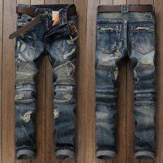 ขาย แฟชั่นผู้ชาย Ripped กางเกงยีนส์แบรนด์นักออกแบบวินเทจล้างกางเกงยีนส์กางเกงแพทช์จีบกางเกงยีนส์ผู้ชายขนาด 28 38 น้ำเงิน สนามบินนานาชาติ ผู้ค้าส่ง