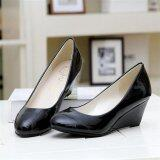 ราคา Fashion New Middle Heeled Women S Ladies Wedge Party Wedding Business Ol Shoes D136 Black Intl ใหม่ ถูก